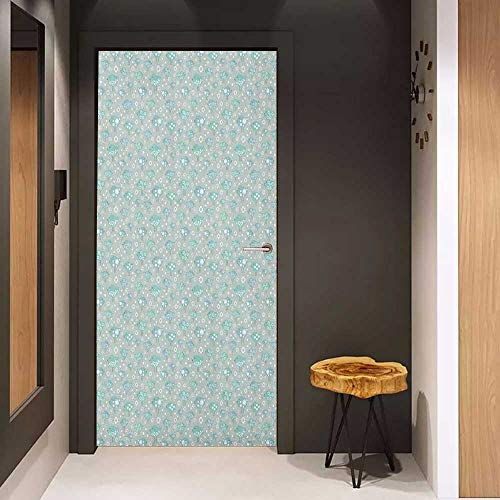 - Onefzc Soliciting Sticker for Door Birds Happy Avian Animals with Dots Spirals Sun and Star Motifs Bird Silhouettes Mural Wallpaper W31 x H79 Sea Green Pale Blue