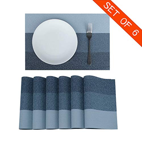 Familighter Placemats for Dining Table Set of 6 Woven Vinyl Washable Table Placemats Table Decoration Heat Insulation Stain Resistant Blue-Strip