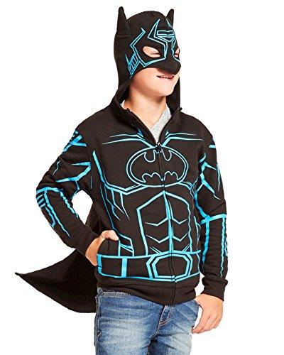 Costume In Dark Ninja The Glow (DC Comics Dark Knight Batman Glow-in-The-Dark Boys' Fleece Hoodie Sweater - Detachable Cape (X-Large)
