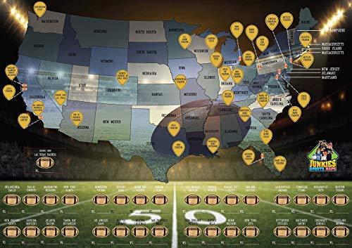 Scratch-Off Football Stadium Map, Travel, Bucket List, Stadium Tour, Poster