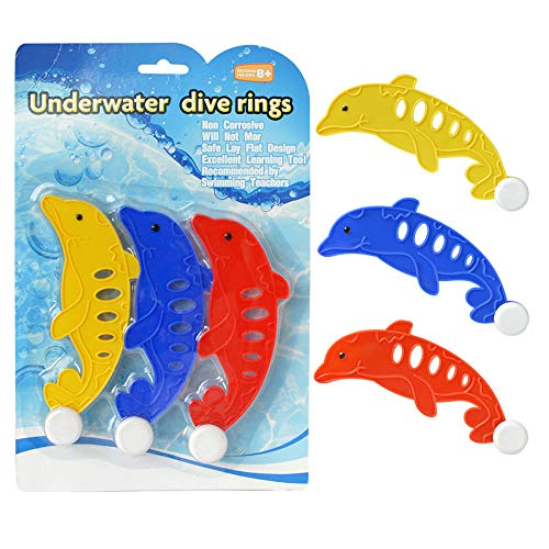 Mandy 3Pcs Diving Underwater Swimming Colorful Pool Sink Training Diving Dolphin Toy from Mandy