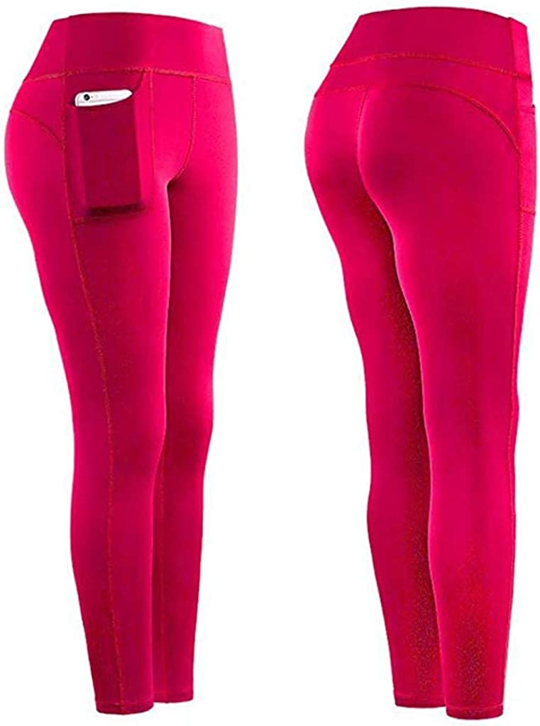 ASOBIMONO Womens High Waisted Yoga Pants 7//8 Length Workout Leggings Sport Compression Tights with Pockets