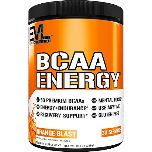 Evlution Nutrition BCAA Energy - Essential BCAA Amino Acids, Vitamin C, Natural Energizers for Performance, Immune Support, Muscle Building, Recovery, B Vitamins, Pre Workout, 30 Serve, Orange Blast
