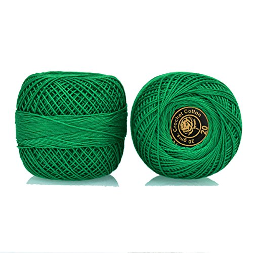 Crochet Cotton Thread Size 20 for weaving, knitting and embroidery craft, 1 Ball, 200 Yard of 100% cotton threads per roll, Factory made thread consistent in color and quality(Dark Green) Crochet Dark Green