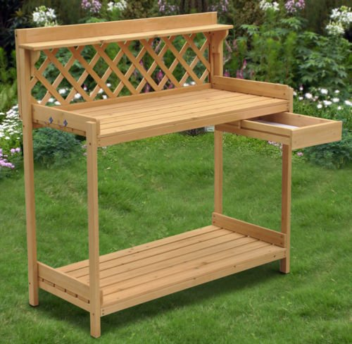 White Cedar Potting Bench (Wood Planter Potting Bench Outdoor Garden Planting Work Station Table Stand)