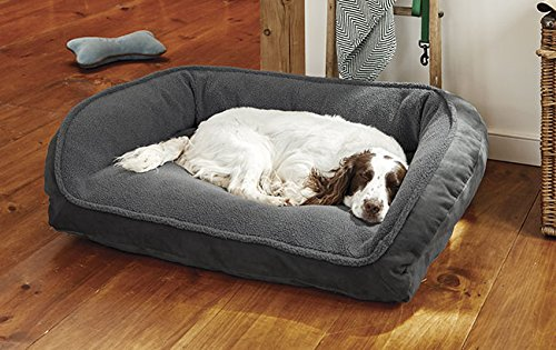 GUNMETAL MEDIUM GUNMETAL MEDIUM Orvis Comfortfill Bolster Dog Bed With Fleece Medium Dogs 18-27 Kg, Gunmetal, Medium