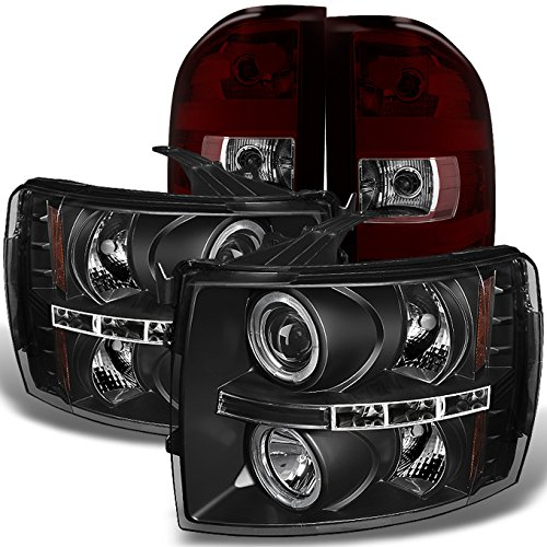 For Chevy Silverado 1500 2500 3500 HD Black Dual Halo LED Projector Headlights + Dark Red Tail ()