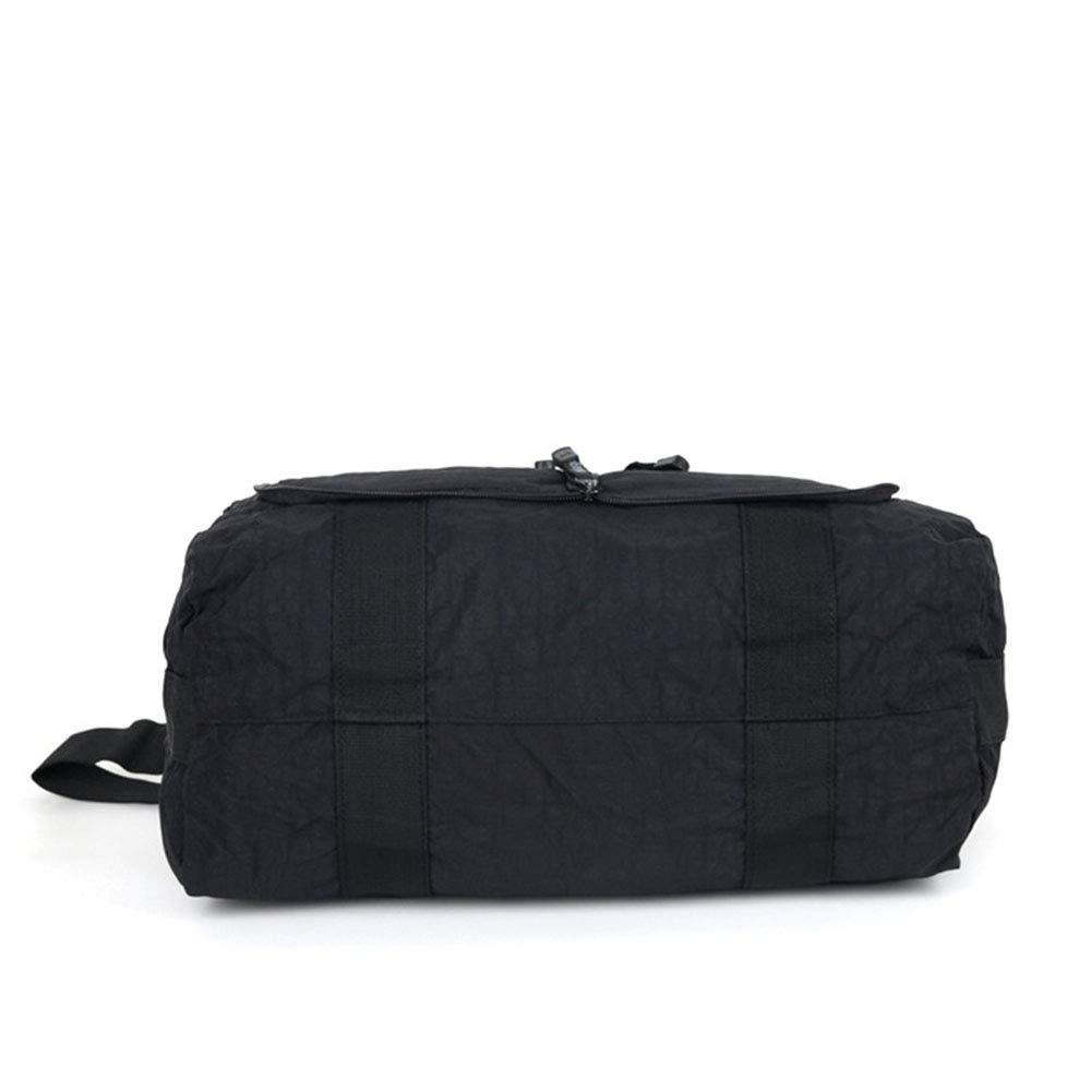 Ybriefbag Unisex Waterproof Nylon Folding Travel Bag Hand Luggage Bag Large Capacity Short Trip Bag Vacation Color : Black