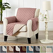 Home Fashion Designs Deluxe Reversible Quilted Furniture Protector and PET PROTECTOR. Two Fresh Looks in One. Perfect for Families with Pets and Kids. By Brand. (Chair, Misty Rose/Birch)