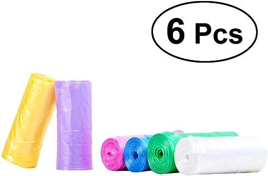 BESTONZON 6 rollos de pequeñas bolsas de basura con asas de ...