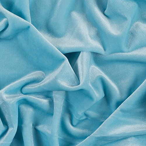 Mood Fabrics Sky Blue Stretch Velour, Pattern: Solid