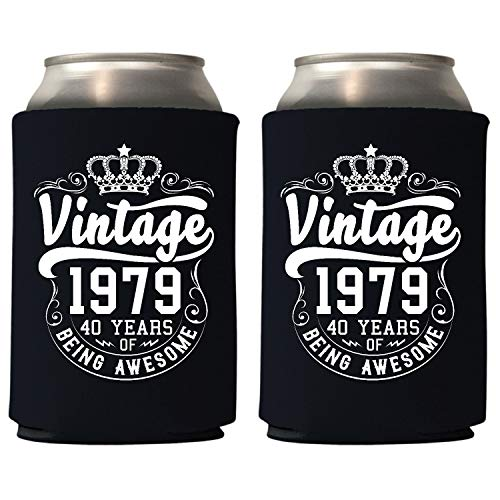 Favors For 40th Birthday (Veracco Crown Vintage 1979 40 Years Of Being Awesome Can Coolie Holder 40th Birthday Gift Forty and Fabulous Party Favors Decorations (24, Blk,)