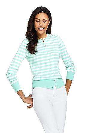 2470e337761 Lands' End Women's Supima Cardigan Stripe Sweater at Amazon Women's  Clothing store: