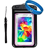 Universal Premium Waterproof Bag / Pouch / Cover / Case for Samsung Galaxy S5 SV / Mini / Active / S4 / ZTE Z998 / V956 with Responsive Screen Protector Windows and Strap Fit up to 5.5 Inch Ios Windows Google Android Smart Phone + SumacLife Wisdom Courage