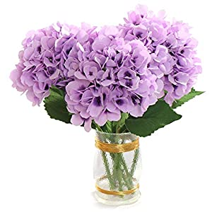 "Larksilk 27"" Silk Artificial Hydrangea Flower Lavender Purple Fake Flowers for Decorations & Wedding Bridal Bouquets (Set of 3) 101"