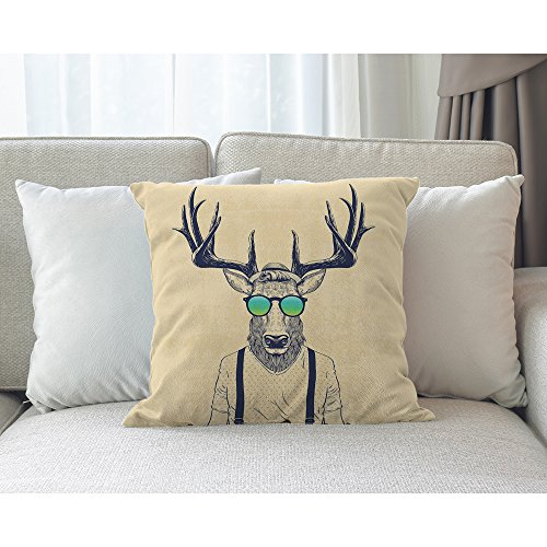 Moslion Deer Pillow,Home Decor Throw Pillow Cover deer Dressed Up Like Cool Hipster Cotton Linen Cushion for Couch/Sofa/Bedroom/Livingroom/Kitchen/Car 18 x 18 inch Square Pillow case