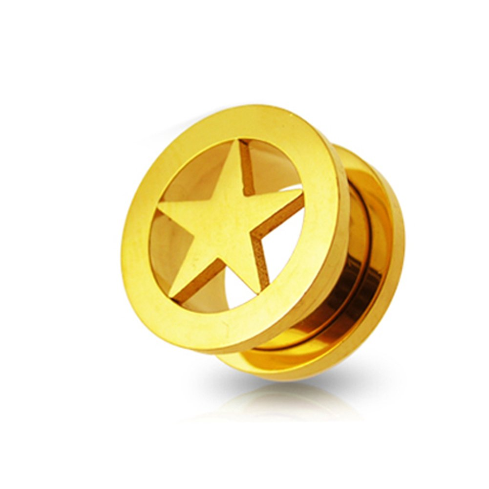 Gold Anodized Star Fit Flesh Tunnel Body jewelry