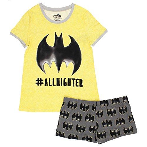 Batgirl Juniors Plus Shorts Pajamas Set (3X, All Nighter Yellow) ()