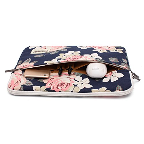 Canvaslife White Rose Pattern 13 inch Canvas laptop sleeve with pocket 13 inch 13.3 inch laptop case by Canvaslife (Image #2)