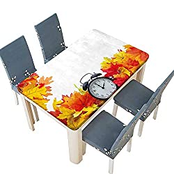 PINAFORE Polyester Tablecloth Table Cover Autumn Leaves and an Alarm Clock Fall Season Theme Romantic Digital Print White for Dining Room W69 x L108 INCH (Elastic Edge)