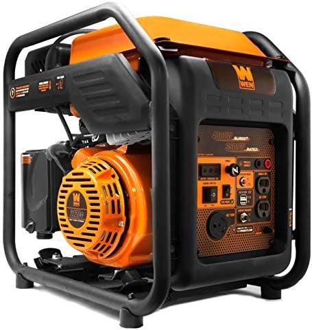 WEN GN400i RV-Ready 4000-Watt Open Frame Inverter Generator, CARB Compliant, Black orange