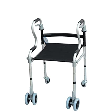 Andador,Ruedas Y Sentarse, Aluminio Ligero Plegable, Altura Ajustable, para Personas Mayores