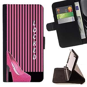 PINK LINES BLACK FASHION STILETTO LOCKED/ Personalizada del estilo del dise???¡Ào de la PU Caso de encargo del cuero del tir????n del soporte d - Cao - For LG Nexus 5 D820 D821