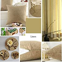 Home Brilliant 2 Pack Lined Linen Euro Sham Decorative Pillow Covers Cushion Covers for Kids, 55x55 cm 22 inch, Natural Linen