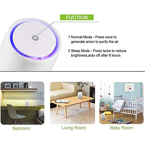 JINPUS Air Purifier Small Air Cleaner for Bedroom with HEPA Filter, Upgraded Low Noise Home Air Purifiers GL-2103 (Powered by 4.9ft USB cable, No Adapter)