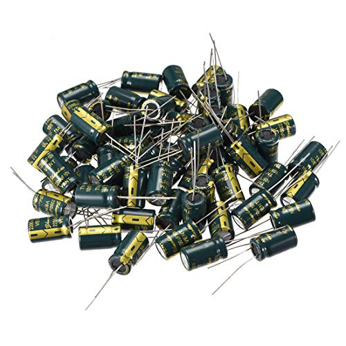 uxcell Aluminum Radial Electrolytic Capacitor Low ESR Green with 2200UF 10V 105 Celsius Life 3000H 10 x 17 mm High Ripple Current,Low Impedance 60pcs ()