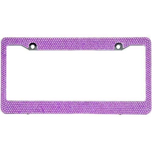 Purple Rhinestone Crystal - BLVD-LPF OBEY YOUR LUXURY   Purple Crystal Rhinestone License Plate ABS Frame - 1 Frame
