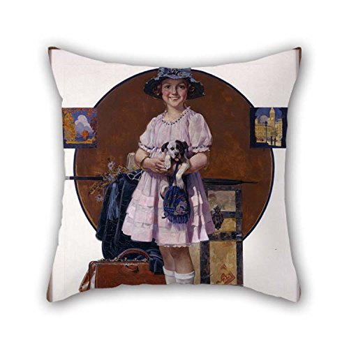 Throw Pillow Case Of Oil Painting Norman Rockwell - Vacation's Over (Girl Returning From Summer Trip ) 18 X 18 Inches / 45 By 45 Cm Best Fit For Couch Indoor Wife Bar Seat Adults Coffee House Both]()