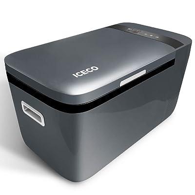 ICECO GO20 Dual Zone Portable Refrigerator with Danfoss Compressor, 20 Liter/21 Quart, DC 12/24V, AC 100-240V, 0℉ to 50℉, Mini Fridge Cooler Refrigerator for Outdoor, Home Use, Driving, Gray: Appliances