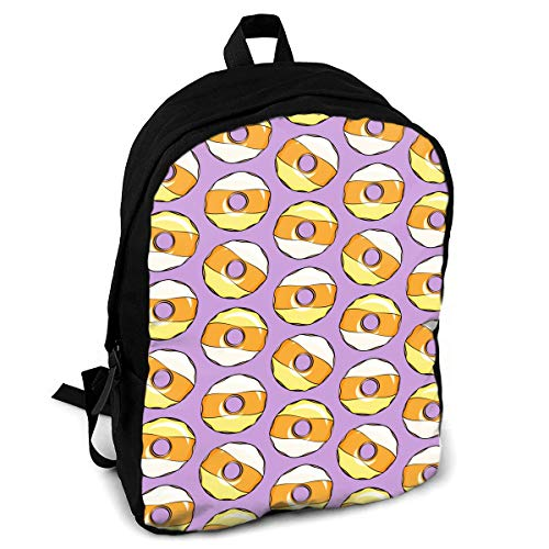 (Giinly Candy Purple Halloween Donuts Full-Size Printed Custom Multipurpose School Bag Backpack Travel)
