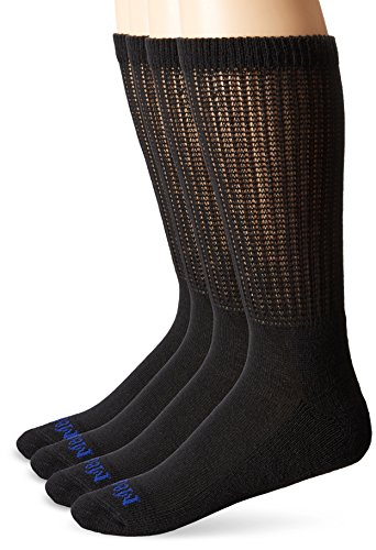 MediPEDS Men's 4 Pack Diabetic Crew Socks, Black, Shoe Size: 9-12