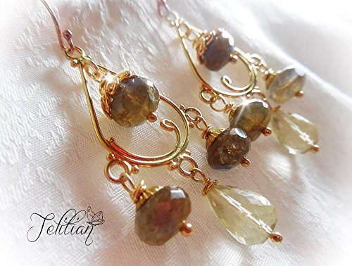 Labradorite Earrings, Vermeil Chandelier Earrings, Gemstone Chandelier Earrings, Lemon Quartz Earrings, Gold Plated Sterling Silver Earrings