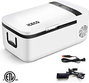 ICECO T12 Portable Refrigerator, Touch Control, Car Freezer (14 Quart), Touch Screen, DC 12/24 V, AC 110-240V, 0℉ to 50℉, Home & Car Use