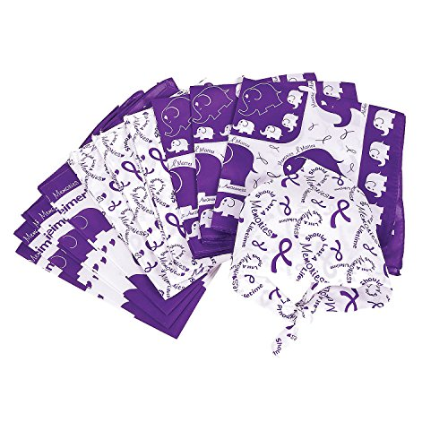 Fun Express - Alzheimer's Awareness Bandana - Apparel Accessories - Hats - Bandannas - 12 Pieces