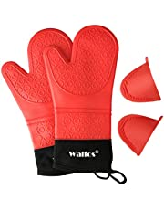 Walfos Oven Mitts, Heat Resistant Silicone Oven Gloves, Extra Long Non-Slip Silicone and Soft Internal Cotton Lining, Flexible and Waterproof - Great for Cooking, Baking and Grilling