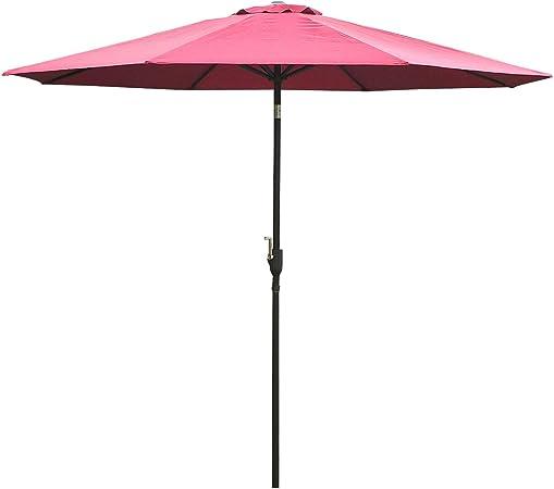 Outsunny Parasol Grande de Jardín Sombrilla para Exterior Desmontable Ángulo Regulable y Manivela de Apertura Fácil Φ300x245cm Vino Tinto: Amazon.es: Jardín