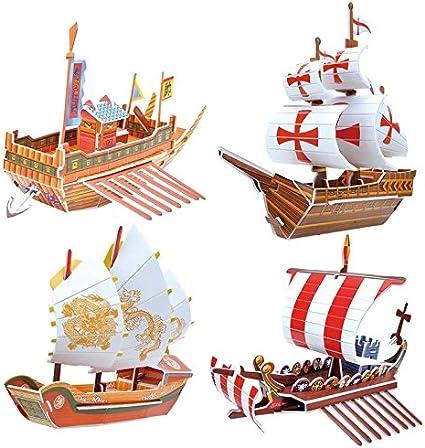 Barco de Papel 3D Rompecabezas de Papel 3D DIY 3D Barco de Juguete Santa Mar/ía Barco Pirata Modelo Montado para Ni/ños