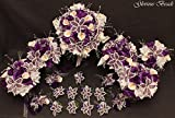 Purple and White Beaded Lily Bridal Wedding Flower 19 piece set with Calla Lilies and Rose~ Unique French beaded flowers. Includes Bouquets Corsages and Boutonnieres