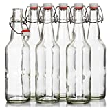 Seal-Tight Fliptop Beer Bottles / Grolsch Bottles with Wire Swing Top Plastic Cap for Brewing Beer and Kombucha - 16 oz, Clear Glass Bottles [Set of 6] (Clear)