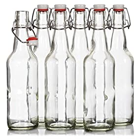 Finedine Swing Top Glass Beer Bottles 16 oz, with Zinc-Plated Steel Wire and Sealed Cap - High Grade Thick Durable Grolsch Bottles - For Brewing Beer Kombucha Kefir - Set of 6 ... (Clear)