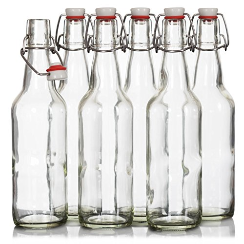 Easy Cap Fliptop Beer Bottles - (6 Pack) 16 Ounce Grolsch Bottles with Metal Wire Swing Top Plastic Cap for Home Brewing Beer, Kombucha, Store Juice, Water, Smoothies, Clear. Airtight Glass Bottles