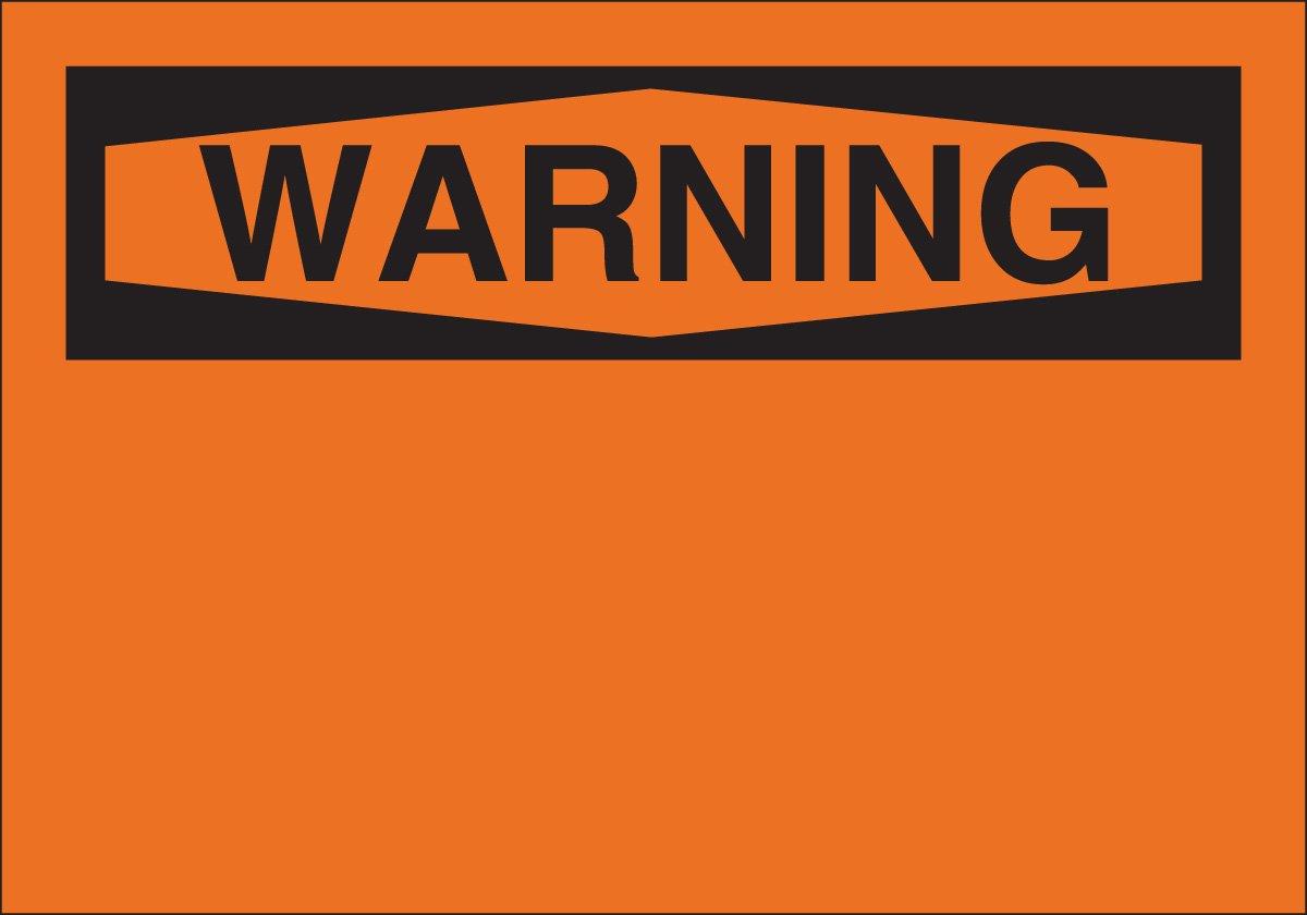 7 X 10 Warning Sign Legend, Blank Brady 42949 Aluminum