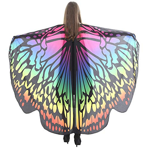 JOFOW Christmas Carnival Costume Butterfly Wings Colorful Print Gradient Wrap Shawl Fairy Tale Cape Party Scarves Poncho (Multicolor)