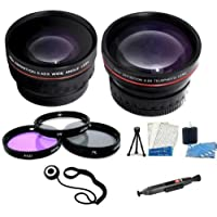 72mm Professional Lens Kit Includes HD .43x Wide Angle Lens 2.2x HD Telephoto Lens + 3pc High Res. Glass Filter Kit + Mini Tripod + Camera Cleaning Kit + LCD screen Protectors + Lens Cleaning Pen + Lens Cap Keeper For Canon XL-H1s, XL-H1a, XH-G1s, XH-A1s, XL2, XL1 High Definition Professional Camcorder