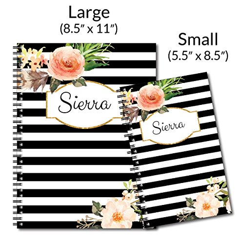 Classic Floral Personalized Floral and Stripe Spiral Notebook/Journal, 120 College Ruled or Checklist Pages, durable laminated cover, and wire-o spiral. 8.5x11 | 5.5x8.5 | Made in the USA Photo #3