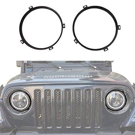Hooke Road Jeep Wrangler 7 inch Round Headlight Mounting Bracket Rings in Black for 1997-2006 Jeep Wrangler TJ 4336327077
